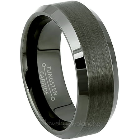 Mens Wedding Bands Tungsten.Beveled Gunmetal Tungsten Ring Mens Tungsten Carbide Wedding Band 8mm Anniversary Band