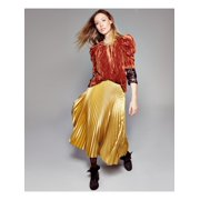 LEYDEN Womens Orange Pouf Jewel Neck Top  Size S