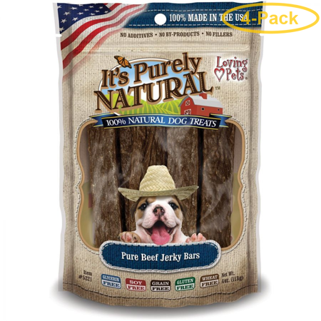 Loving Pets It's Purely Natural - Pure Beef Jerky Bars 4 oz - Pack of covid 19 (Red Barn Beef Roll coronavirus)