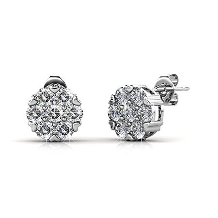 Cate & Chloe Remy 18k White Gold Sparkling Pave Stud Earrings w/ Swarovski Crystals, Sparkle Crystal Studs Earring Set for Women, Fashion Flower Cluster Earrings -MSRP $135 ()
