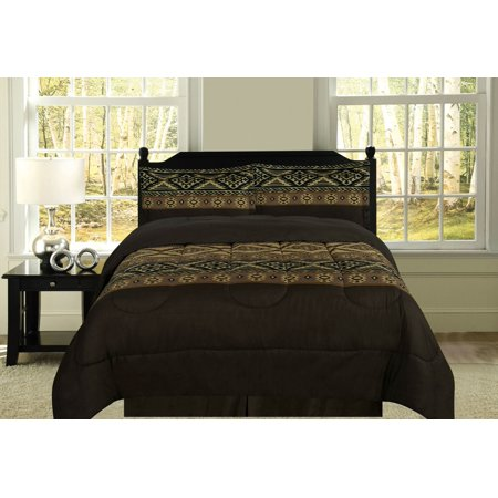 Full Southwest 4 Piece Bedding Set Native Aztec Design, Brown Tan (Comforter, 2 Shams, Bedskirt)