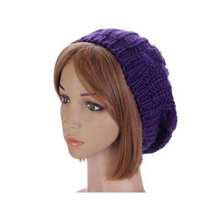US Fashion Women Winter Warm Beret Cap Braided Baggy Knit Crochet Beanie Hat Ski - Walmart.com
