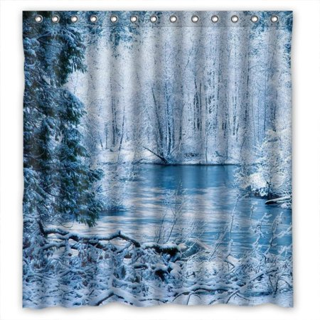 GreenDecor Glam Pure White Snow Trees Beauty Winter Nature Scene Waterproof Shower Curtain Set with Hooks Bathroom Accessories Size 66x72 inches ()