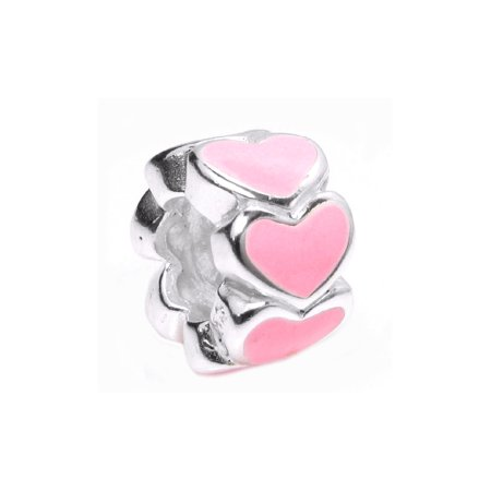 (Queenberry Sterling Silver Endless Love Pink Heart Enamel European Style Bead Charm Fits Pandora)