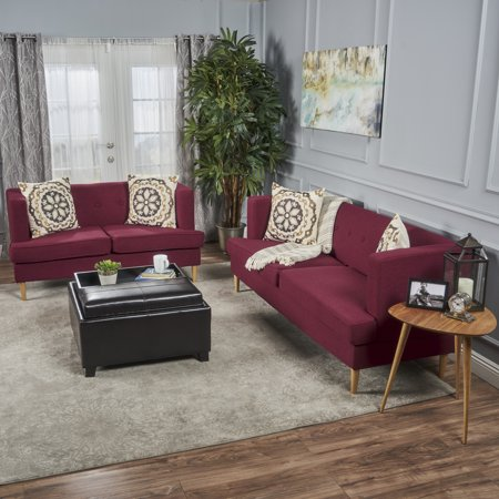 Noble House Brylee Mid Century Modern Fabric Sofa and ...