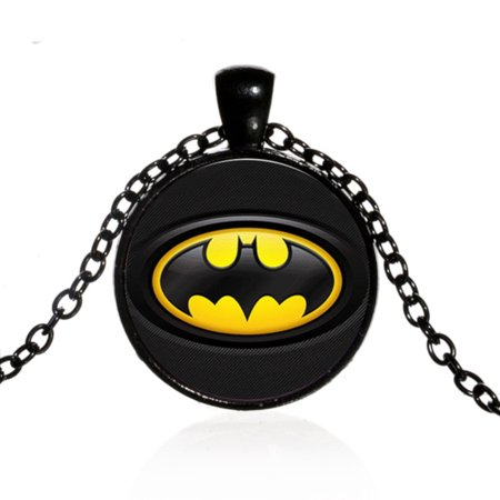 Batman the Dark Knight Pendant Light in the Night Black Anti-Tarnish Necklace, J-303-1 (Glow In Dark Necklaces Wholesale)