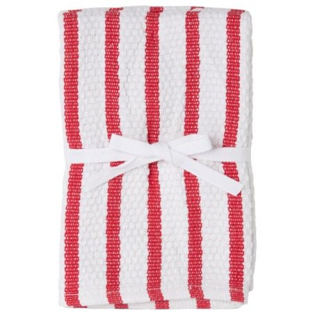 Premier Cloth Set - Harold Import Company Striped Dish Cloth (Set of 2), Red and White