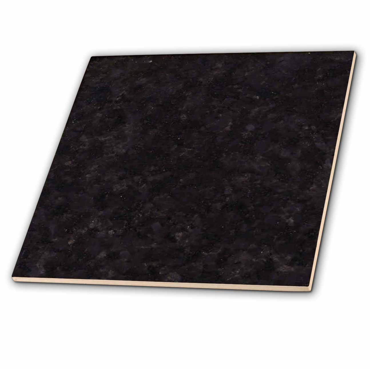 3dRose Black Pearl granite print - Ceramic Tile, 12-inch