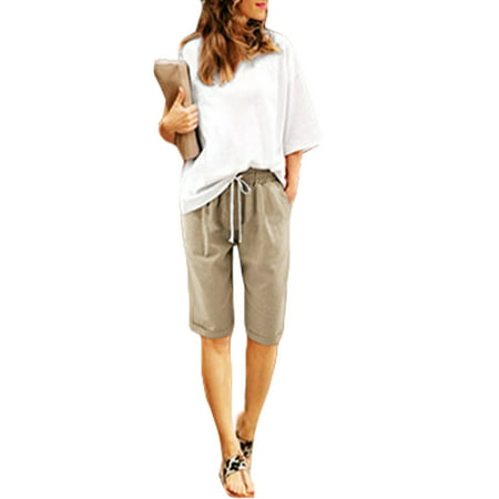 S-XXXXXXL Womens Holiday Lace Up High Waist Beach Hot Pants Shorts Pocket Summer Plus Size Casual Short Midi Trousers