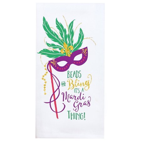 Mardi Gras Beads and Bling With Gold Glitter Kitchen Tea Towel