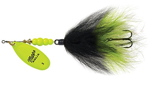 Mepps Aglia Tandem Bucktail, 7 8 oz., Hot Chartreuse Blade Black Chartreuse Tail Multi-Colored by Mepps
