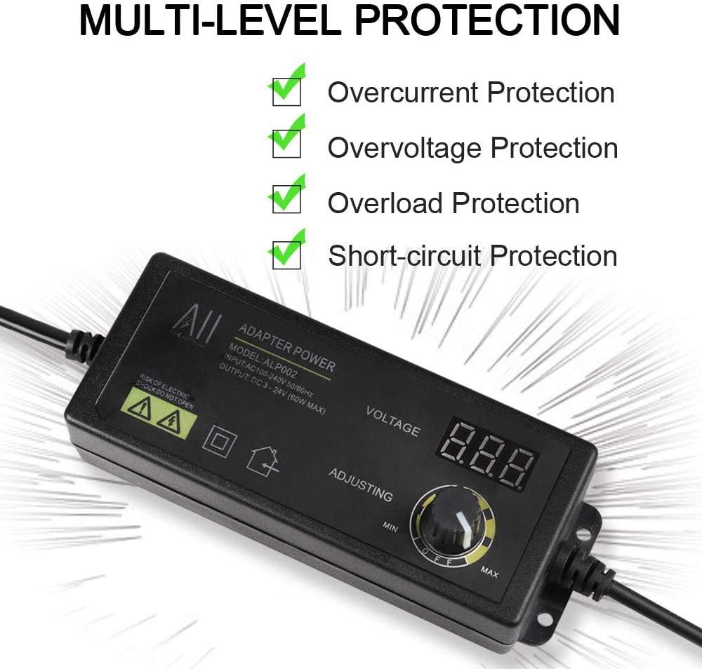 24V US Plug USA Adjustable DC Power Supply Adapter Charger Variable Voltage 3V