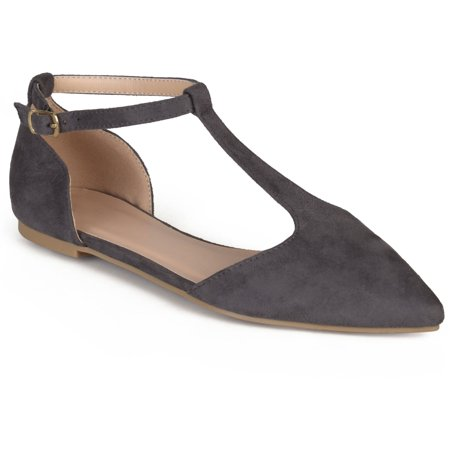 Womens T-strap Pointed Toe Faux Suede Flats