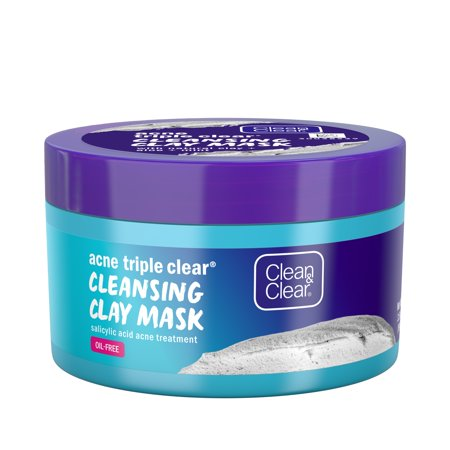 Clean & Clear Acne Triple Clear Clay Face Mask, Salicylic Acid, 3.5