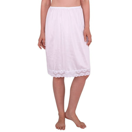 Base Slip (Women's Half Slip with Lace Details, Anti- Static )