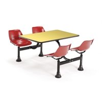 """OFM Model 1002 Cluster Seating Table with 24"""" Top and 4 Seats, Yellow with Red"""