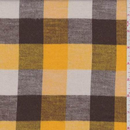 Buffalo Plaid Flannel - Gold/Brown/Ivory Buffalo Plaid Flannel, Fabric By the Yard
