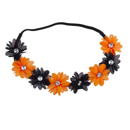 lux accessories black n orange rhinestone halloween chiffon floral flower crown