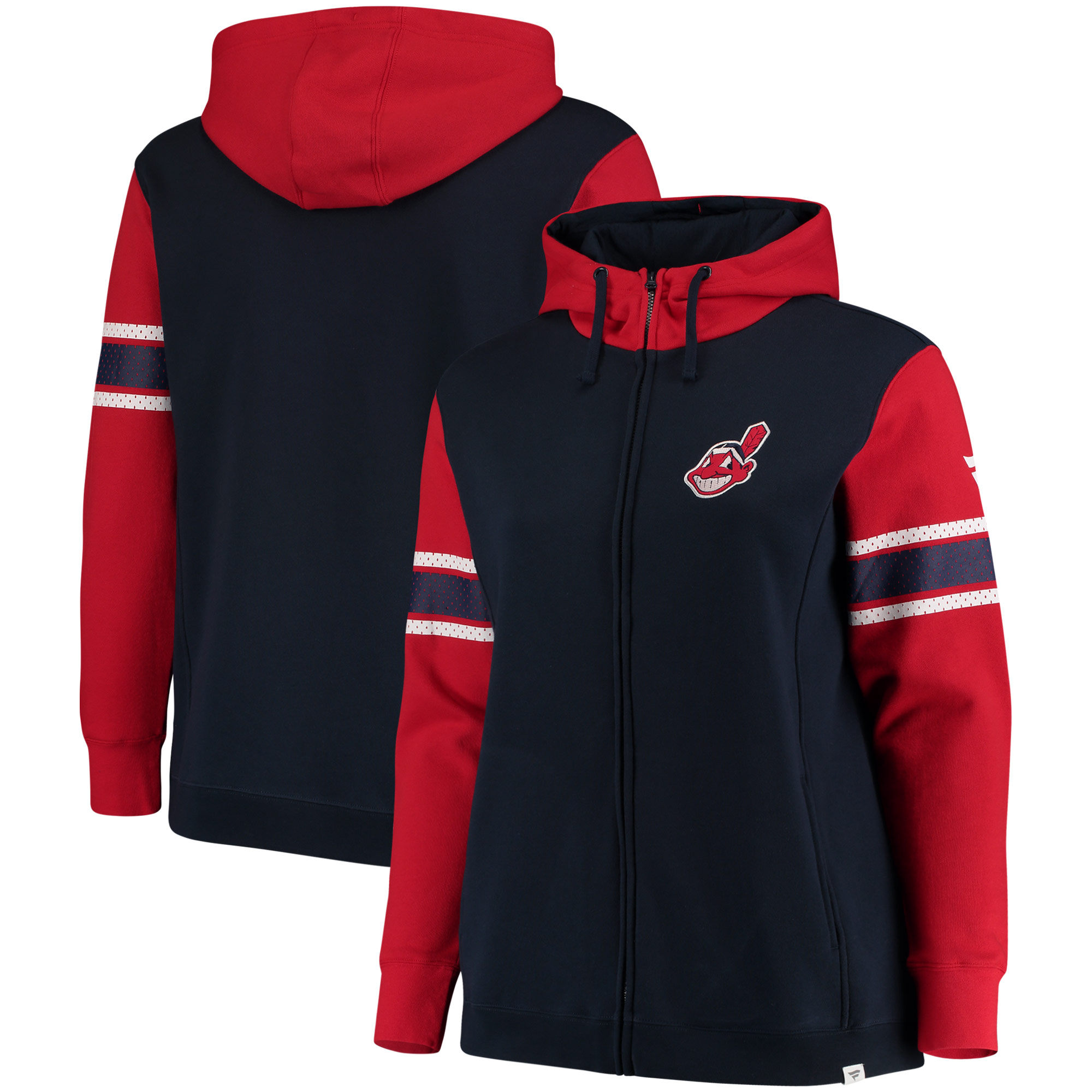 Women's Fanatics Branded Navy Cleveland Indians Plus Size Iconic Fleece Full-Zip Hoodie