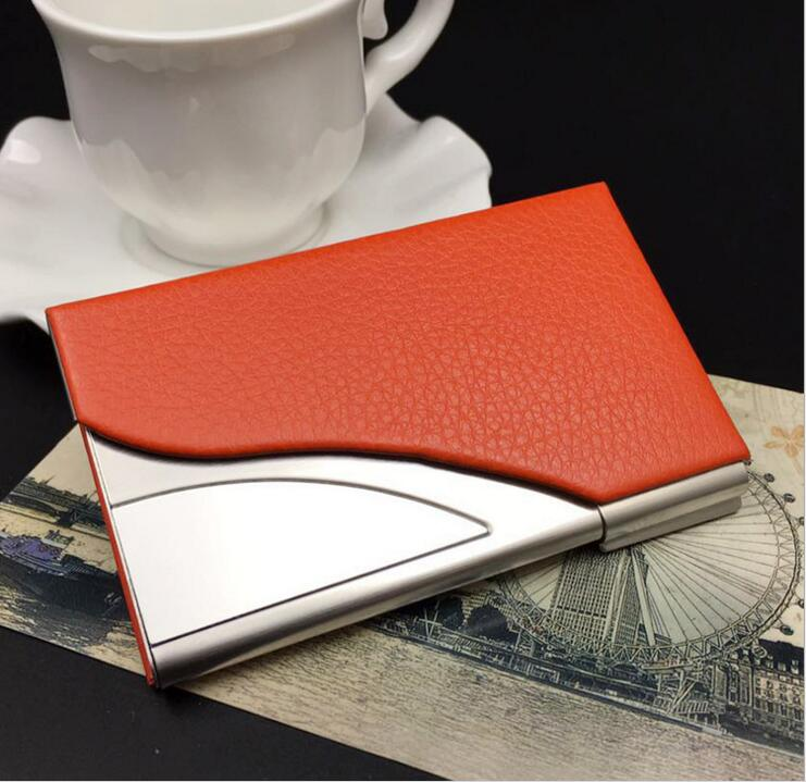 Business Card Case Holder PU Leather & Stainless Steel Credit card Organizer ID Name Card Holder For Men & Women 1pc Orange