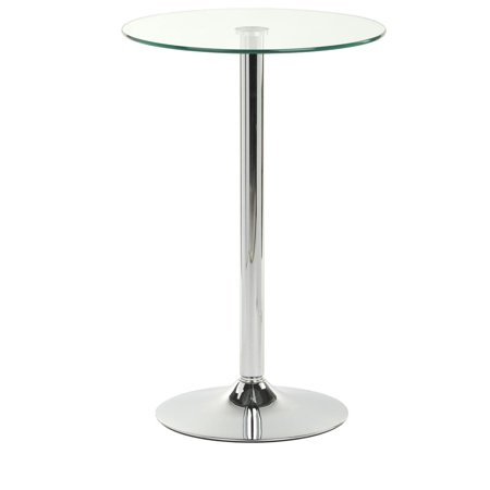 23.5-inch Pub Table with Glass Top, 36-inch Fixed Height Round Table for Bars, Aluminum & Glass (BRTBLGF1) 36' Glass Pub Table