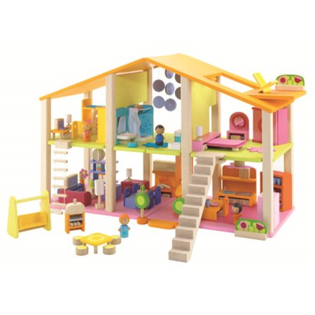Grtsunsea Wooden Kids Girls Doll House Dollhouse Toy Set with Furniture Building Blocks Gifts 27.56 x 10.63 x 17.72'' Accessories