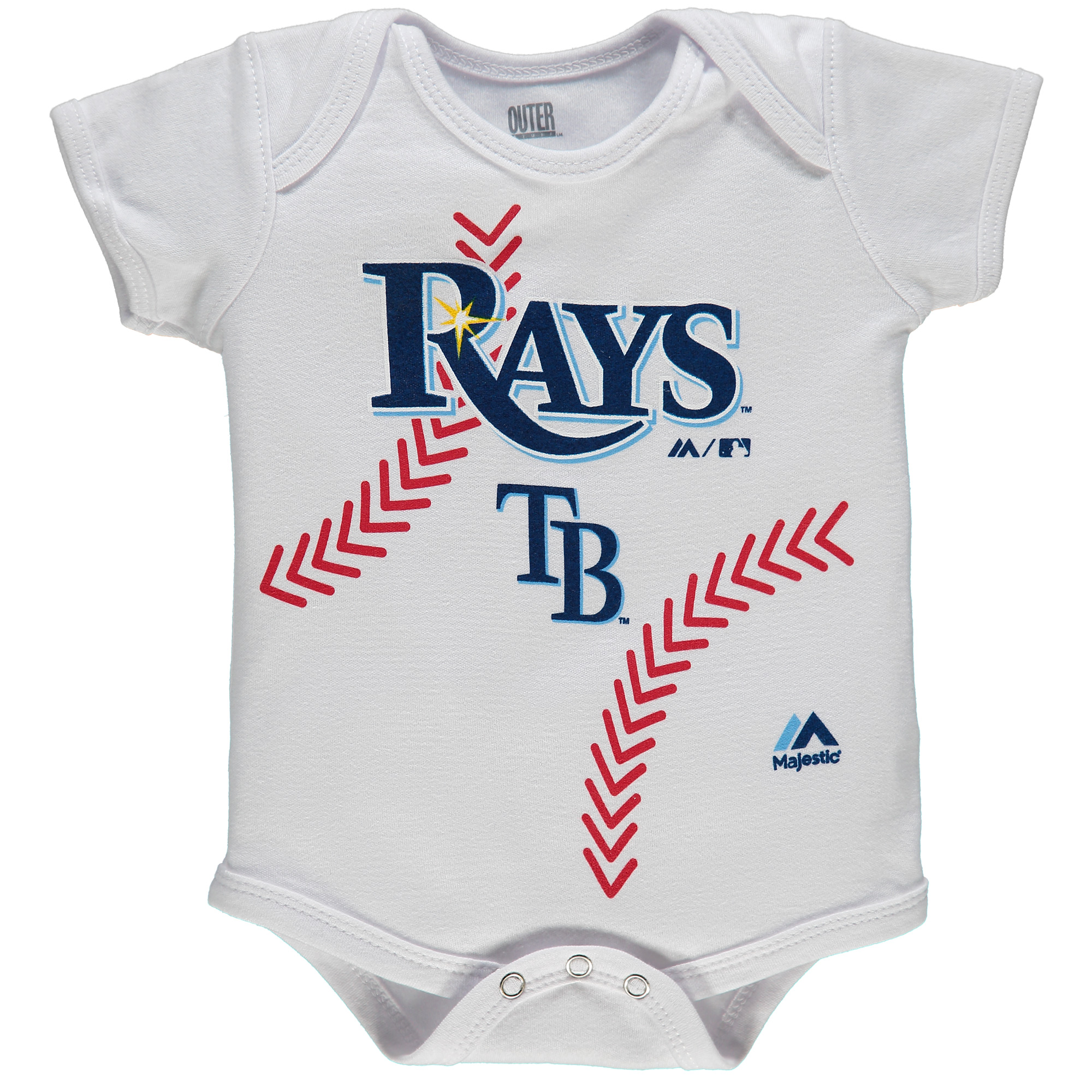 Tampa Bay Rays Majestic Newborn Stitches Baseball Bodysuit - White