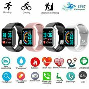 Y68 1.3 in Smart Watch Waterproof Bluetooth Sport SmartWatch Support for iOS Android Device Fitness Tracker Heart Rate Monitor Built-in 150mAh Battery USB Charging-Black