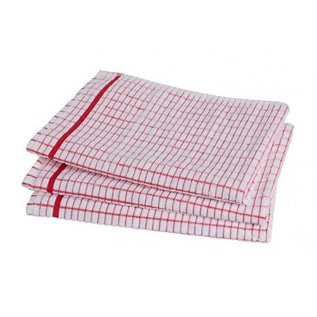 Poli-Dri 100% Cotton Dish Towels (3 Pack) - Grade Absorbent White Kitchen Towels Check Design (Red)