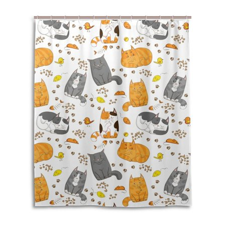 POPCreation Bathroom Cartoon Yellow Cat Shower Curtain And Hooks ...