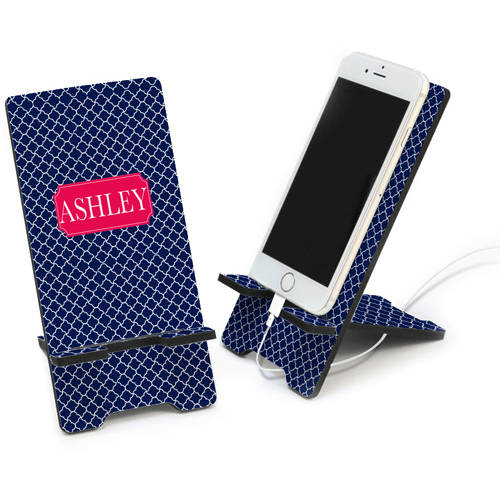 Quatrefoil Design Personalized Cell Phone Stand