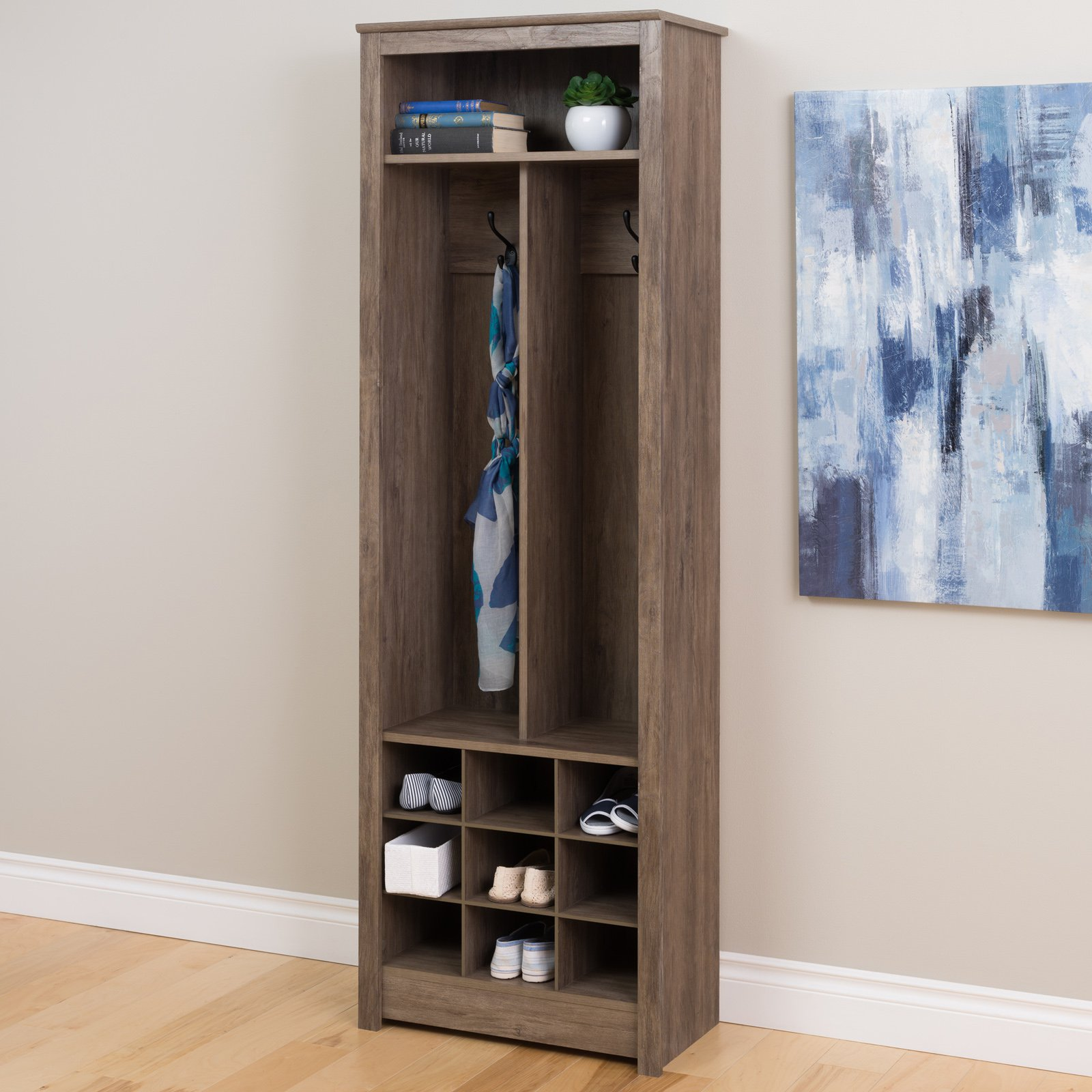 Prepac Space-Saving Entryway Organizer with Shoe Storage, Drifted Gray