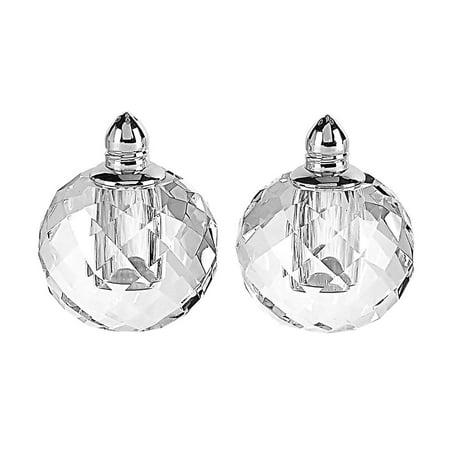 (D) Handcrafted 'Zendra Silver' Crystal Glass 2-pc Salt & Pepper Shakers Set Crystal Salt And Pepper Set