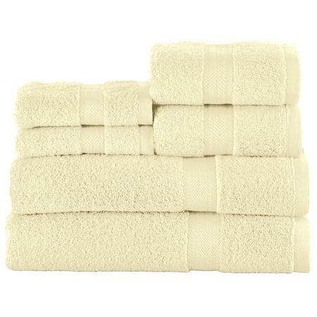 Zero Twist Luxury Bath Towel Set, Hotel Quality Style - Set of 6 - for Bathroom, Spa, Travel