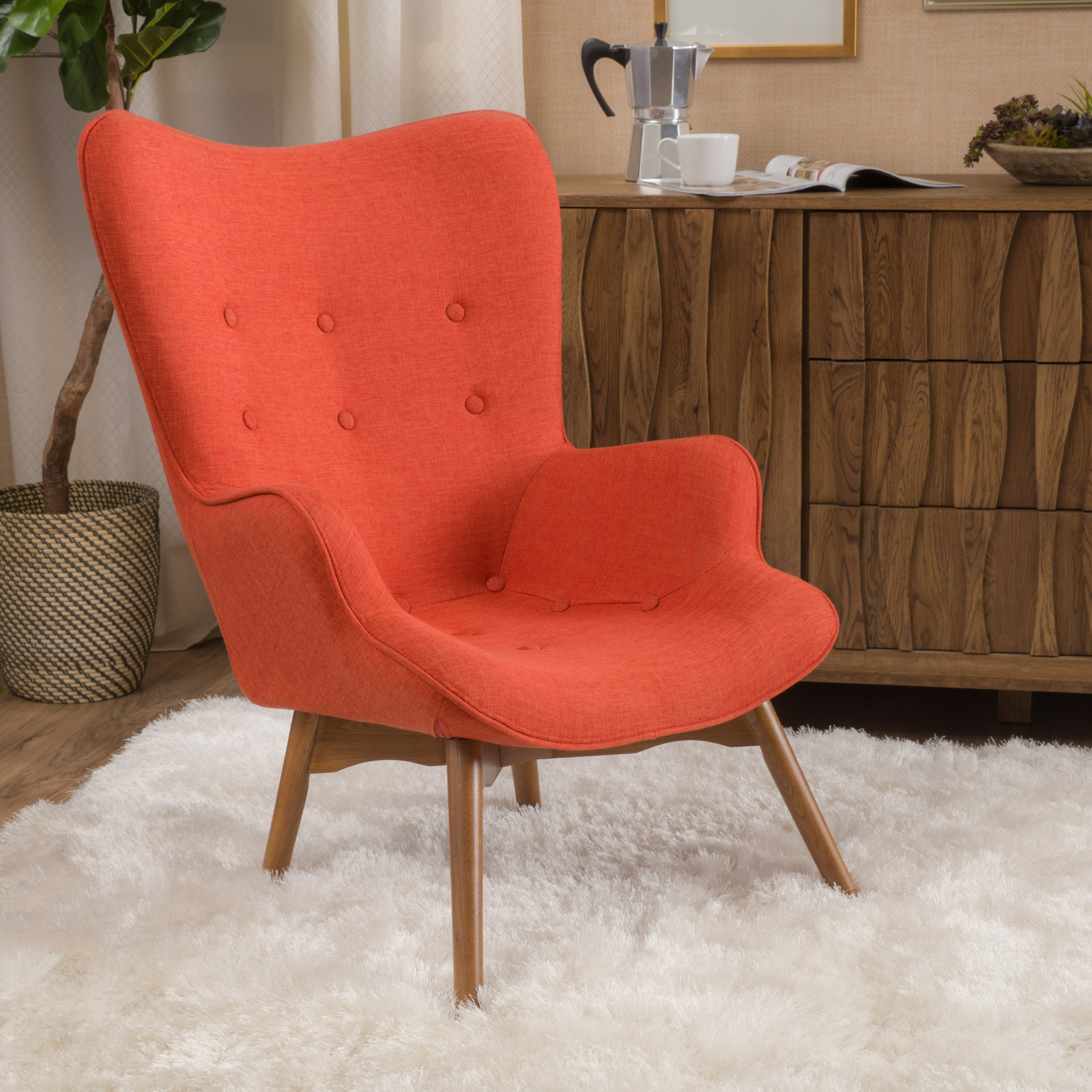 Noble House Henry Muted Orange Fabric Contour Accent Chair