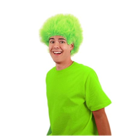 Lime Green Fuzzy Costume Wig Adult One Size](Fuzzy Wigs)
