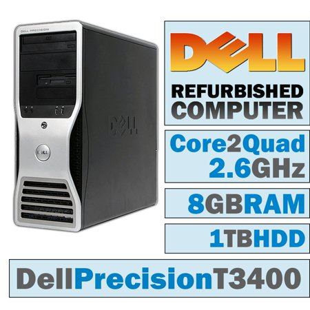 REFURBISHED Dell Precision T3400 MT/Core 2 Quad Q6700 @ 2.67 GHz/8GB DDR2/1TB HDD/DVD-RW/WINDOWS 7 PRO 64