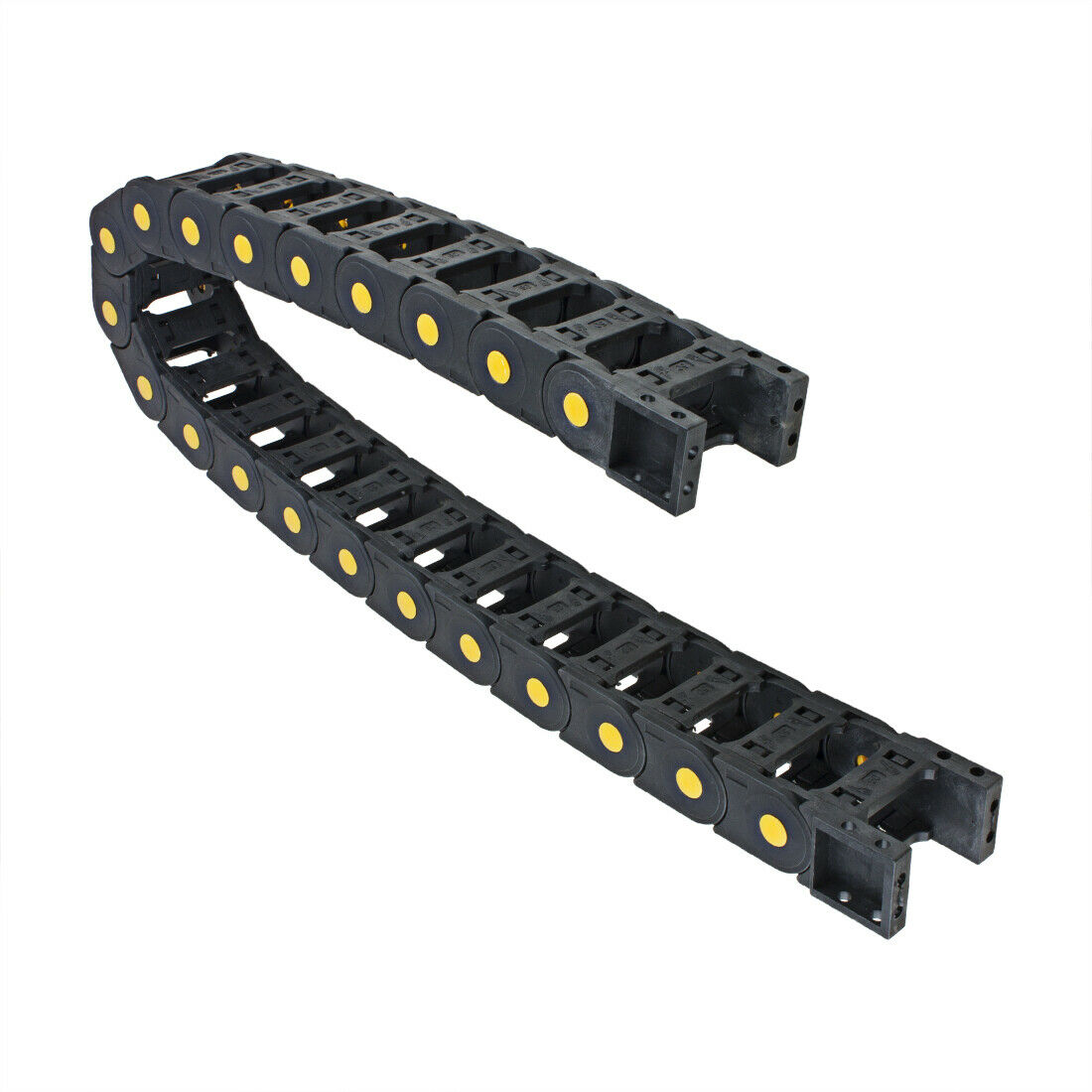 uxcell R55 25mm x 25mm Black Plastic Open Type Cable Wire Carrier Drag Chain 1M Length