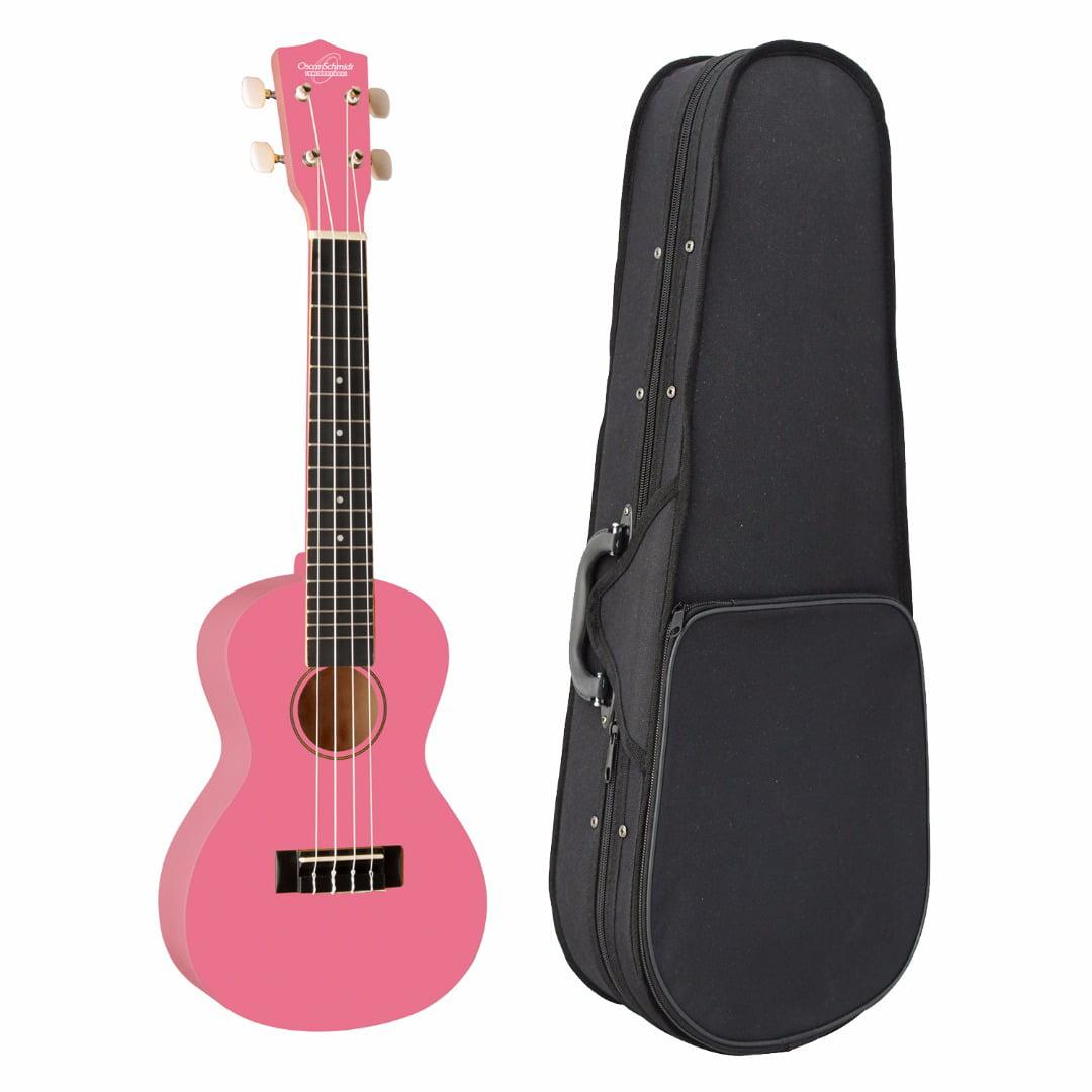 Oscar Schmidt Model OU1CP Concert Size Ukulele (Pink) with Knox Concert Ukulele by Oscar Schmidt