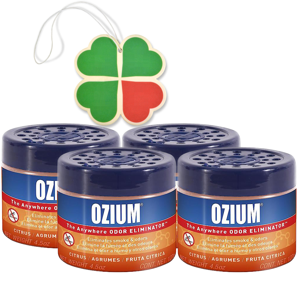Ozium Gel Smoke & Odors Eliminator 4-PACK with A 4-Leaf Clover Car Air Freshener (Citrus)