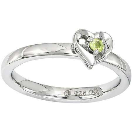 Peridot Sterling Silver Heart Ring ()