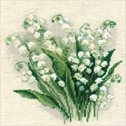 """Lilly of The Valley Counted Cross Stitch Kit, 8"""" x 8"""", 14-Count"""