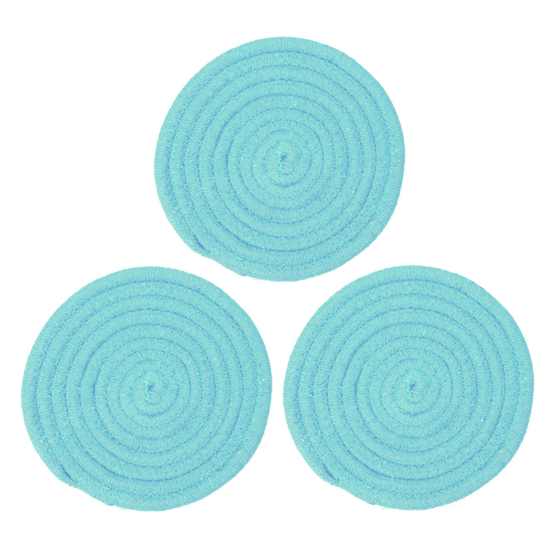 "Round Cotton Thread Weave Heat Resistant Mat 7"" Dia Placemats/Spoon Rest/Coasters Mats, Kitchen Dining Mats Pink 3pcs"