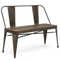 Best Choice Products 42in Industrial Metal Rustic Farmhouse Dining Bench w/ Wooden Seat, Removable Backrest - Espresso