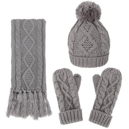 Andorra   3 In 1   Soft Warm Thick Cable Knitted Beanie Scarf   Gloves Winter Set Grey