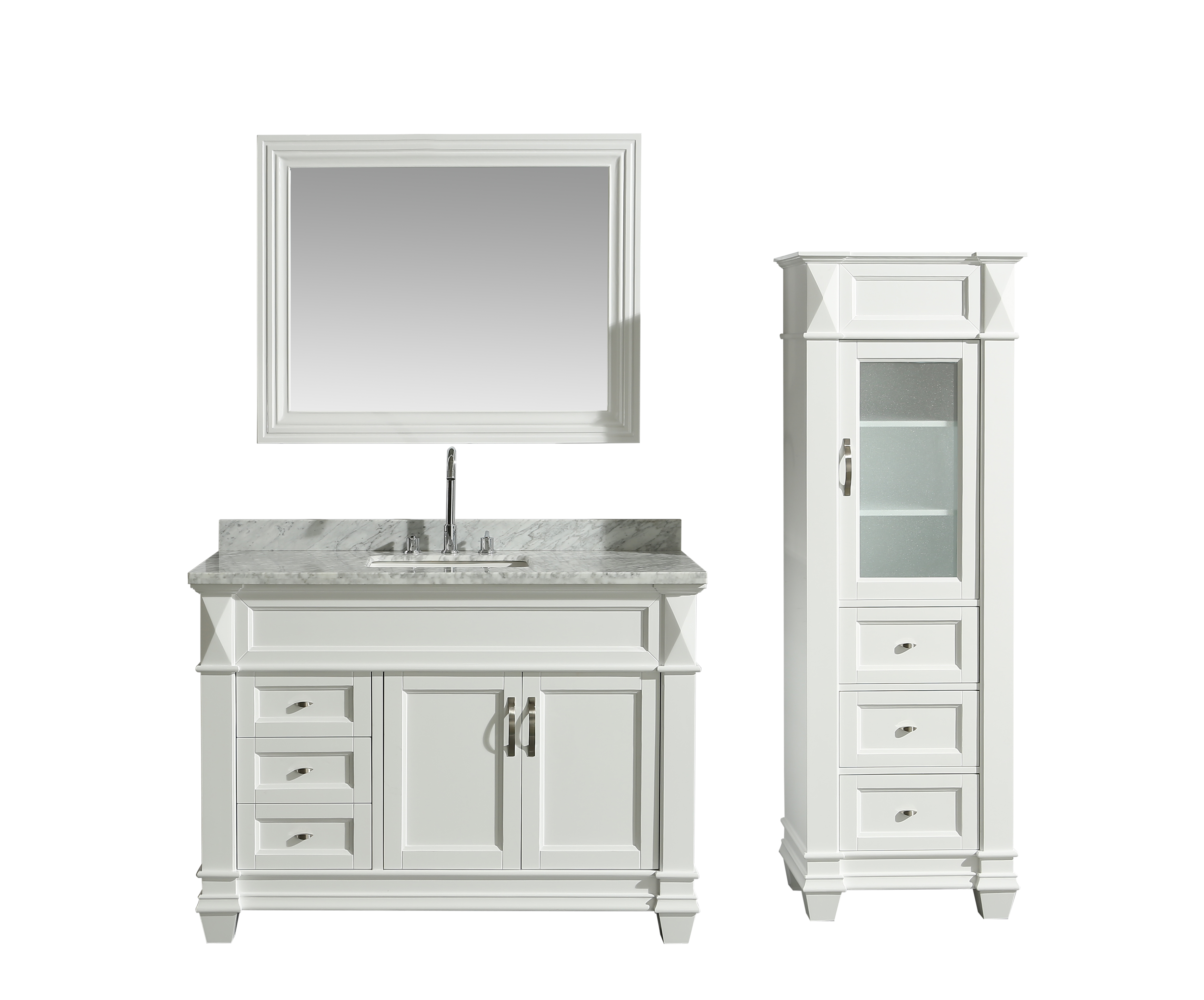 Design Element Hudson 48 Single Sink Bathroom Vanity Set In White With Carrara Marble Top And 65 Linen Tower Cabinet Walmart Com Walmart Com