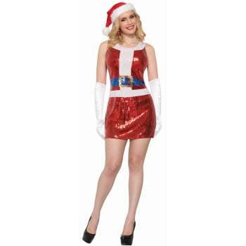 CO-SEQUIN SANTA DRESS-M/L - Santa Claus Dress For Babies