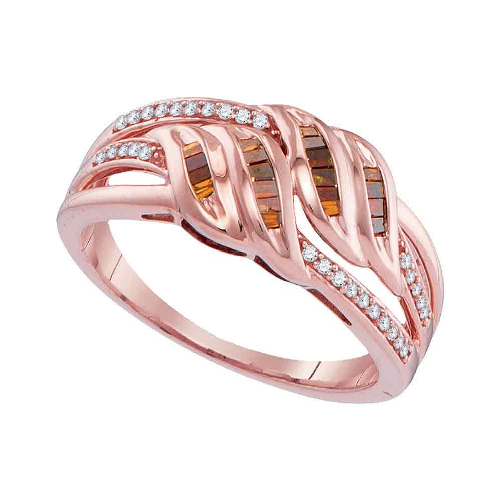 10kt Rose Gold Womens Princess Red Colored Diamond Strand Band Ring ...