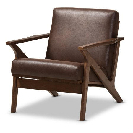 Dark Brown Leather Chair (Baxton Studio Bianca Mid-Century Modern Walnut Wood Dark Brown Distressed Faux Leather Lounge)