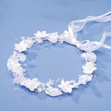 Victoria Lynn Bridal Crown - Star Flowers with Pearl Center - White ()